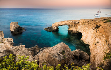 Beautiful beach view. Beautiful natural rock arch in Ayia Napa on Cyprus island
