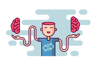 Happy Character showing left and right brain parts