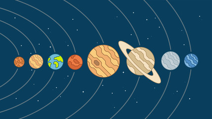 Solar System Vector Illustration