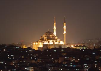 Fatih Sultan Camii Mosqueat night Istanbul, Turkey
