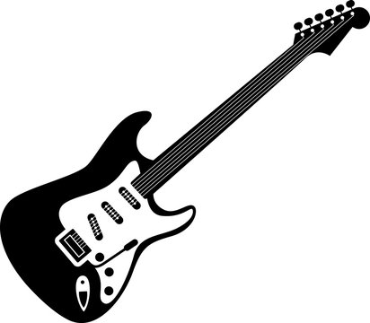 Electric guitar icon black on white. A detailed icon of electric guitar isolated on white background. Good for print and web icon of a guitar.
