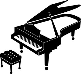 Black and white icon of an open grand piano and stool for a musician. Grand piano black icon suitable for print and web. Realistic icon of grand piano.