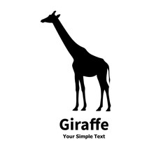 Vector illustration of a silhouette of a giraffe
