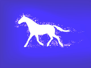Silhouette of a running horse on a blue background
