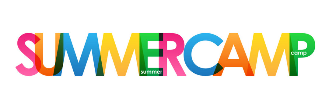 """SUMMER CAMP"" colorful vector typography banner"