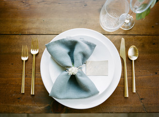 Place setting at wedding breakfast