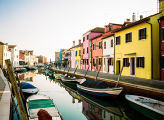 Colourful houses with canal and boats