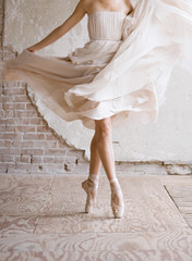 Low section of ballet dancer on pointe