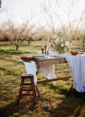 Table in orchard with flower arrangement