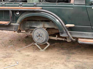 Changing tyre in the mid of Safari at Ranthambore National Park
