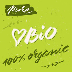 Organic, bio, eco, fresh, pure and ecological. Hand written label for organic and natural food.