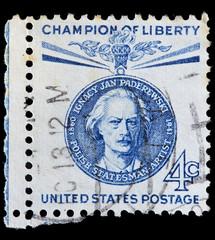 USA used postage stamp showing portrait of Ignacy Jan Paderewski