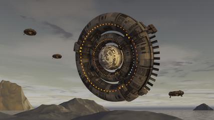 3d render. Futuristic spaceship UFO