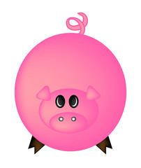 Cartoon pig vector symbol icon design. Cute animal illustration isolated on white background