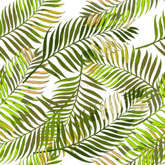 Foto op Plexiglas Tropische Bladeren Vector summer seamless pattern with palm leaves. Hand drawn tropical palm leaves background. Design for fashion textile summer print, wrapping paper, web backgrounds.