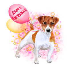 Watercolor closeup portrait of cute Jack russel terrier breed puppy isolated on abstract background. Puppy holding balloons. Hand drawn sweet home pet. Happy birthday greeting card design. Clip art