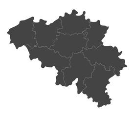 Map of Belgium with regions