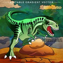 Dinosaur in the habitat. Vector Illustration Of Tyrannosaur