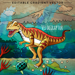Dinosaur in the habitat. Vector Illustration Of Velociraptor