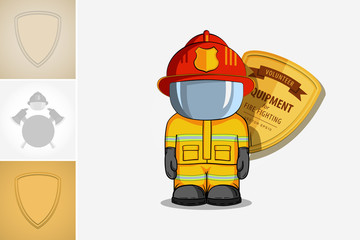 Vector hand drawn illustration. Isolated character firefighter in protective suit stands.