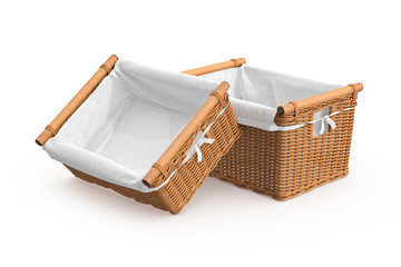 Empty wicker baskets with fabric on white background. 3D graphic