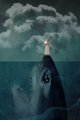 Shark underwater with lighthouse on nose