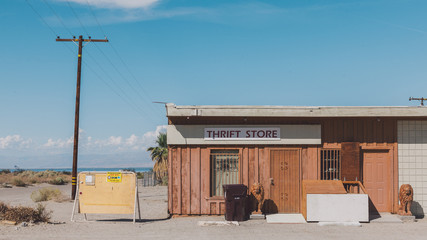 Thift store in arid landscape