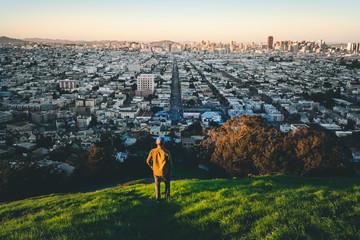 Man looking at view of San Fancisco