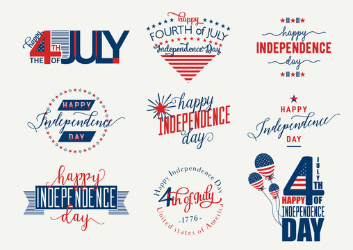 Happy Independence Day United States overlay. Fourth of July - July4th banner, label or poster. Vector Set