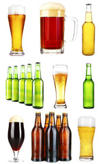 Different types of beer in glasses and bottles, isolated on white
