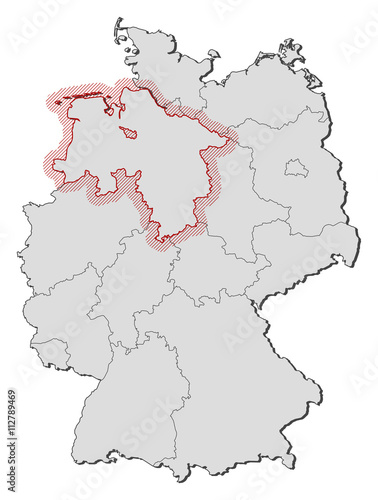 Lower Saxony Germany Map.Map Germany Lower Saxony Stock Image And Royalty Free Vector