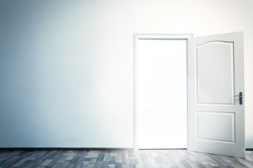 White open door with bright light