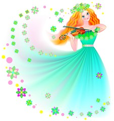 Beautiful fairy playing the violin, vector cartoon image.