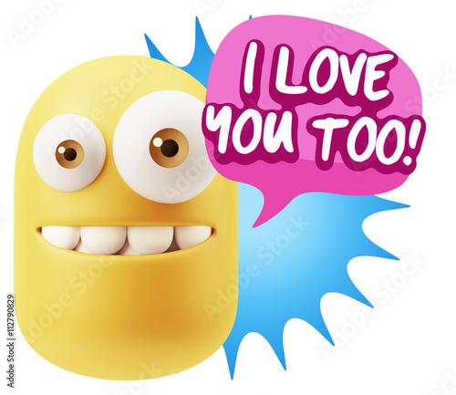 3d Illustration Laughing Character Emoji Expression saying I