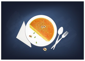Kanafeh or Cheese Pastry with Syrup on Chalkboard