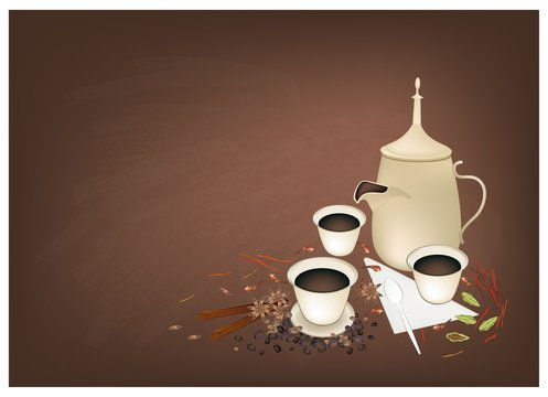 Traditional Arabic Coffee with Spiced on Chalkboard