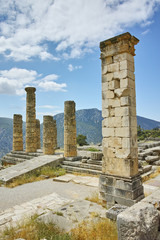The Temple of Apollo in Ancient Greek archaeological site of Delphi, Central Greece