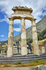 Athena Pronaia Sanctuary in Ancient Greek archaeological site of Delphi, Central Greece