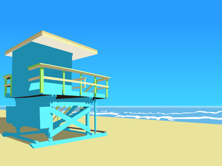 Vector illustration. Blue lifeguard tower at the beach.
