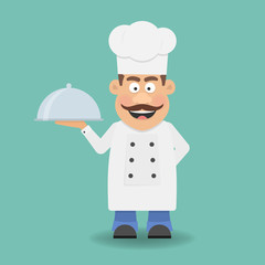 Smiling Chef, Cook or Kitchener. Cartoon character. Flat icon