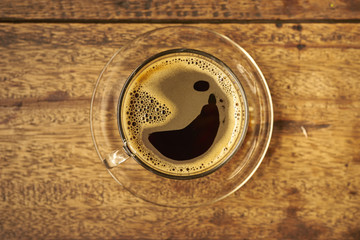 Coffee on Wooden Table, Top View.