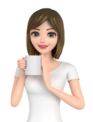 3D illustration character - Woman shows the cup which a message was written.