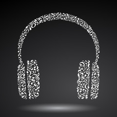 Headphones made of music notes. White notes pattern. Black and white design. Earphone shape. Poster and decoration idea.