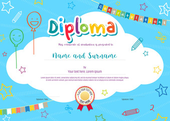 Colorful diploma certificate for kids on bright blue background