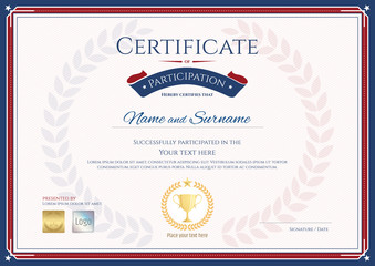 Certificate of participation template in sport theme with gold trophy
