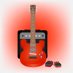 Иллюстрация электрической гитары, усилителя и педалей