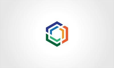 polygon cube colored logo