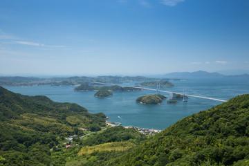 亀老山から見たしまなみ海道 来島海峡大橋