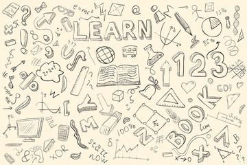 Doodle set. Various school stuff