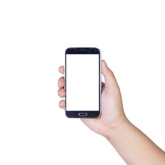 holding smartphone with isolated screen in hand, isolated on whi